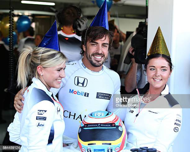 Fernando Alonso of Spain and McLaren Honda celebrates his 35th birthday before practice for the Formula One Grand Prix of Germany at Hockenheimring...