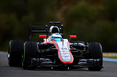Fernando Alonso of Spain and McLaren Honda drives during day three of Formula One Winter Testing at Circuito de Jerez on February 3 2015 in Jerez de...