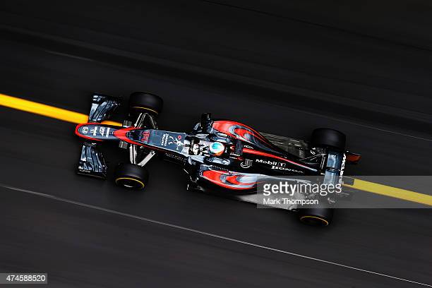 Fernando Alonso of Spain and McLaren Honda drives during final practice for the Monaco Formula One Grand Prix at Circuit de Monaco on May 23 2015 in...