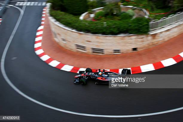 Fernando Alonso of Spain and McLaren Honda drives during practice for the Monaco Formula One Grand Prix at Circuit de Monaco on May 21 2015 in...