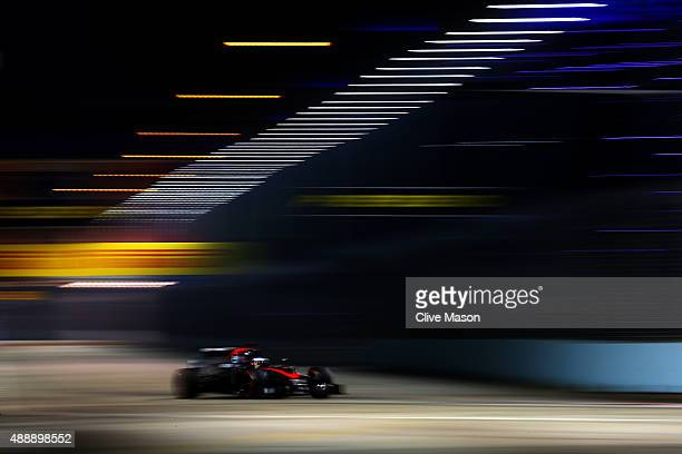 Fernando Alonso of Spain and McLaren Honda drives during practice for the Formula One Grand Prix of Singapore at Marina Bay Street Circuit on...