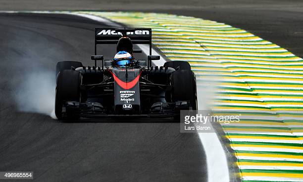 Fernando Alonso of Spain and McLaren Honda drives during practice for the Formula One Grand Prix of Brazil at Autodromo Jose Carlos Pace on November...