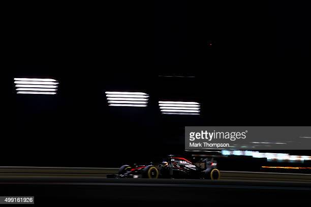 Fernando Alonso of Spain and McLaren Honda drives during the Abu Dhabi Formula One Grand Prix at Yas Marina Circuit on November 29 2015 in Abu Dhabi...