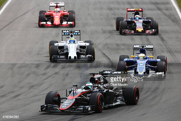 Fernando Alonso of Spain and McLaren Honda drives during the Canadian Formula One Grand Prix at Circuit Gilles Villeneuve on June 7 2015 in Montreal...