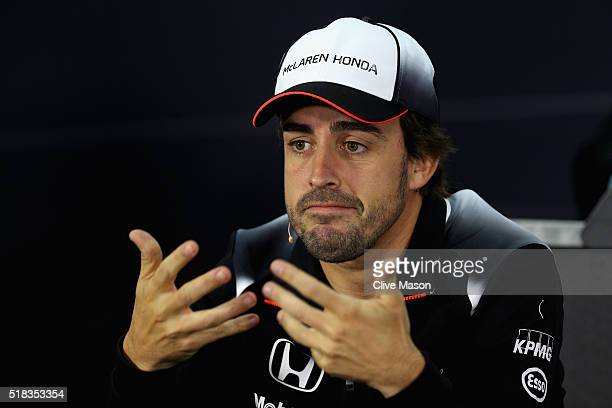 Fernando Alonso of Spain and McLaren Honda explains that he will not be racing during the weekend in the Drivers Press Conference during previews...