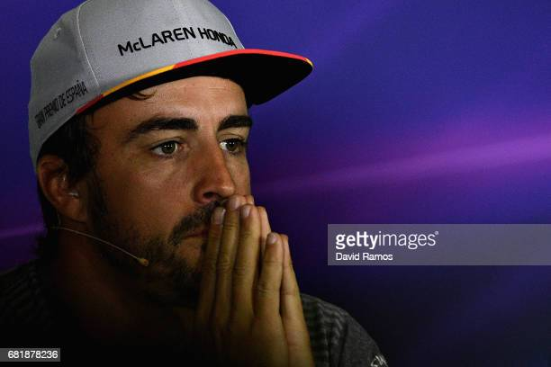 Fernando Alonso of Spain and McLaren Honda in the Drivers Press Conference during previews for the Spanish Formula One Grand Prix at Circuit de...
