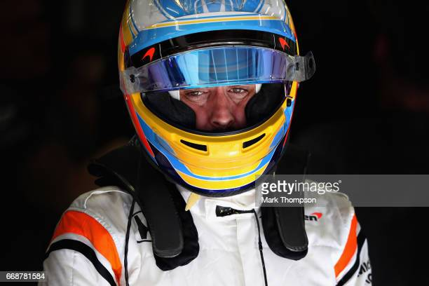 Fernando Alonso of Spain and McLaren Honda in the garage during final practice for the Bahrain Formula One Grand Prix at Bahrain International...