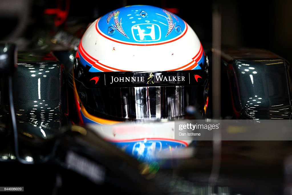 <a gi-track='captionPersonalityLinkClicked' href=/galleries/search?phrase=Fernando+Alonso+-+Race+Car+Driver&family=editorial&specificpeople=12323351 ng-click='$event.stopPropagation()'>Fernando Alonso</a> of Spain and McLaren Honda in the garage during practice for the Formula One Grand Prix of Austria at Red Bull Ring on July 1, 2016 in Spielberg, Austria.