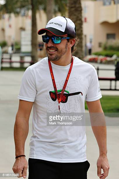Fernando Alonso of Spain and McLaren Honda in the Paddock during practice for the Bahrain Formula One Grand Prix at Bahrain International Circuit on...