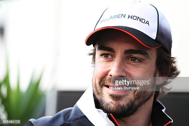 Fernando Alonso of Spain and McLaren Honda in the Paddock during previews ahead of the Formula One Grand Prix of Russia at Sochi Autodrom on April 28...