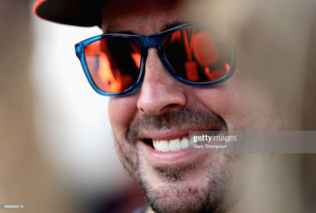 Fernando Alonso of Spain and McLaren Honda in the Paddock during previews to the Bahrain Formula One Grand Prix at Bahrain International Circuit on April 13, 2017 in Bahrain, Bahrain.