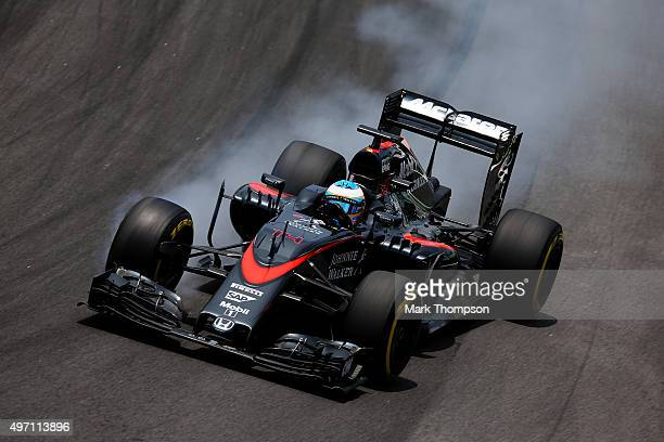 Fernando Alonso of Spain and McLaren Honda locks up during final practice for the Formula One Grand Prix of Brazil at Autodromo Jose Carlos Pace on...