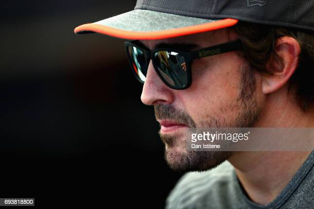 Fernando Alonso of Spain and McLaren Honda looks on in the Paddock during previews for the Canadian Formula One Grand Prix at Circuit Gilles...