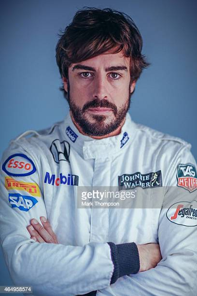 Fernando Alonso of Spain and McLaren Honda poses for a portrait during day three of Formula One Winter Testing at Circuit de Catalunya on February 21...