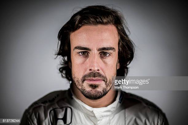 Fernando Alonso of Spain and McLaren Honda poses for a portrait during day two of F1 winter testing at Circuit de Catalunya on March 2 2016 in...