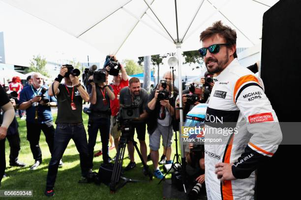 Fernando Alonso of Spain and McLaren Honda poses for a portrait during previews to the Australian Formula One Grand Prix at Albert Park on March 23...