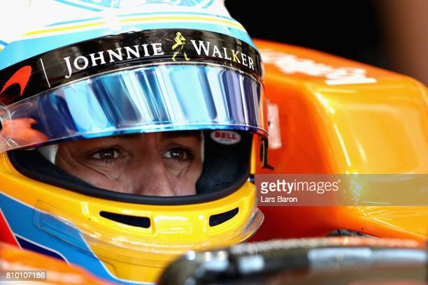 Fernando Alonso of Spain and McLaren Honda prepares to drive during practice for the Formula One Grand Prix of Austria at Red Bull Ring on July 7...