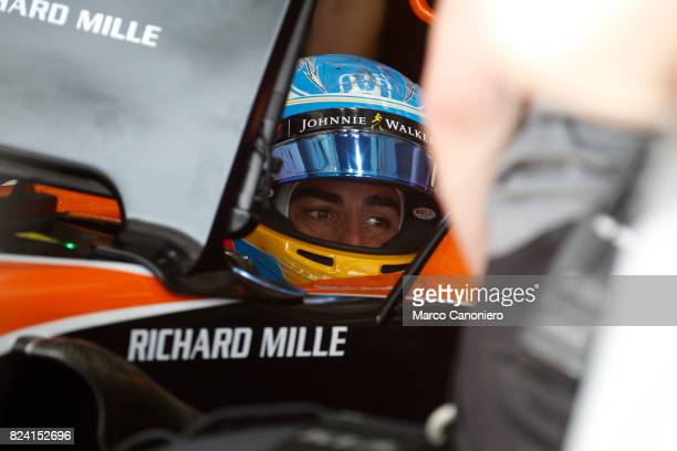 HUNGARORING BUDAPEST HUNGARY Fernando Alonso of Spain and McLaren Honda prepares to drive during practice for the Formula One Grand Prix of Hungary