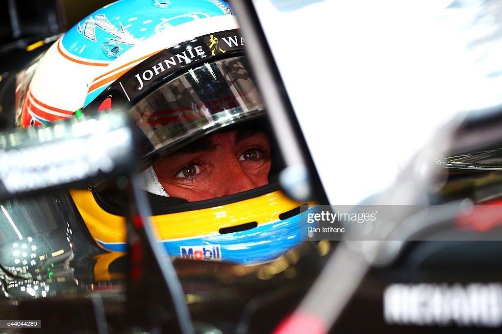 <a gi-track='captionPersonalityLinkClicked' href=/galleries/search?phrase=Fernando+Alonso+-+Race+Car+Driver&family=editorial&specificpeople=12323351 ng-click='$event.stopPropagation()'>Fernando Alonso</a> of Spain and McLaren Honda sits in his during practice for the Formula One Grand Prix of Austria at Red Bull Ring on July 1, 2016 in Spielberg, Austria.