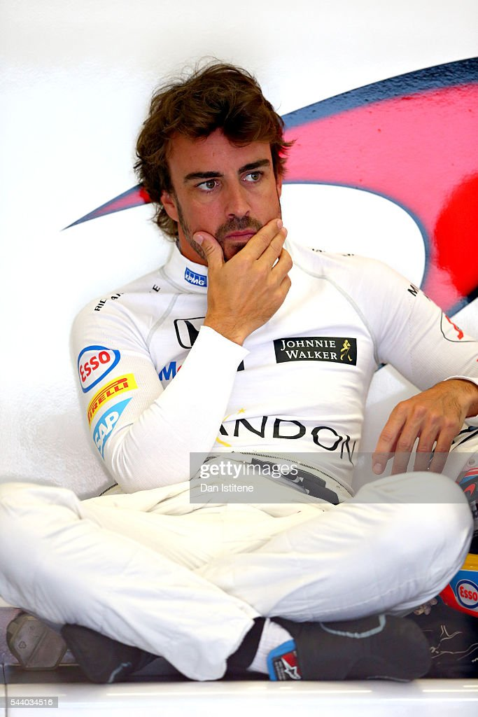 <a gi-track='captionPersonalityLinkClicked' href=/galleries/search?phrase=Fernando+Alonso+-+Race+Car+Driver&family=editorial&specificpeople=12323351 ng-click='$event.stopPropagation()'>Fernando Alonso</a> of Spain and McLaren Honda sits in the garage during practice for the Formula One Grand Prix of Austria at Red Bull Ring on July 1, 2016 in Spielberg, Austria.