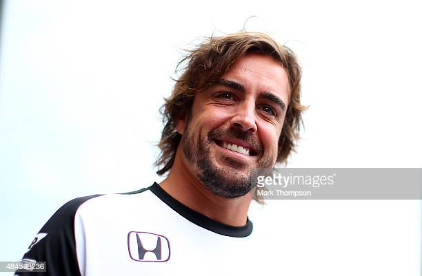 Fernando Alonso of Spain and McLaren Honda smiles in the paddock during previews to the Formula One Grand Prix of Belgium at Circuit de...
