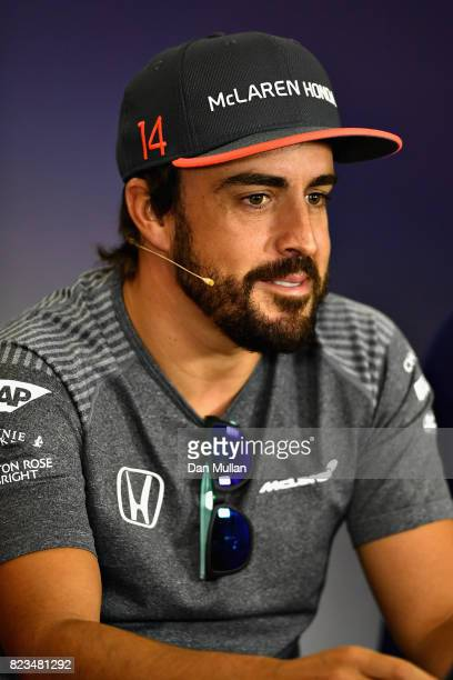 Fernando Alonso of Spain and McLaren Honda talks in the Drivers Press Conference during previews ahead of the Formula One Grand Prix of Hungary at...