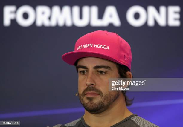 Fernando Alonso of Spain and McLaren Honda talks in the Drivers Press Conference during previews ahead of the United States Formula One Grand Prix at...