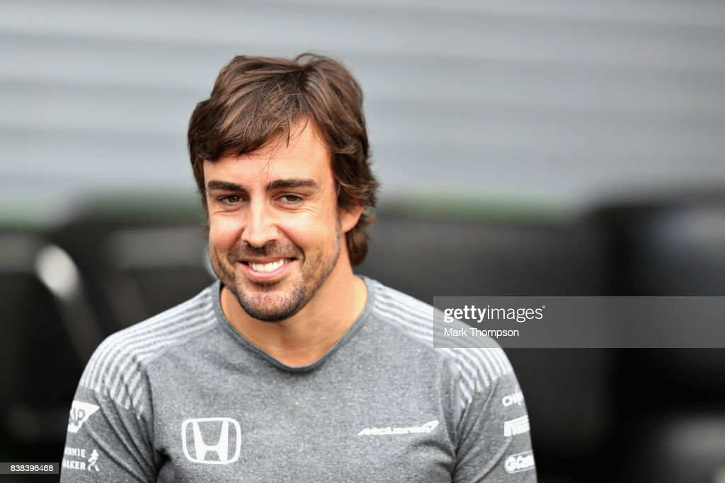 Fernando Alonso of Spain and McLaren Honda talks in the Paddock during previews ahead of the Formula One Grand Prix of Belgium at Circuit de Spa-Francorchamps on August 24, 2017 in Spa, Belgium.
