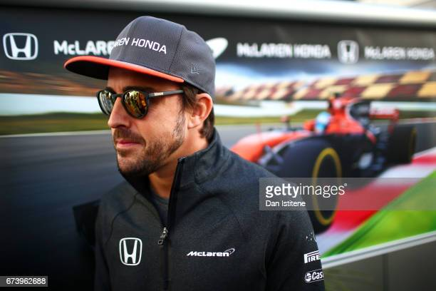 Fernando Alonso of Spain and McLaren Honda talks to the media in the Paddock during previews to the Formula One Grand Prix of Russia on April 27 2017...