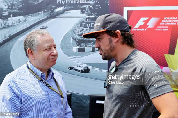 Fernando Alonso of Spain and McLaren Honda talks with FIA President Jean Todt before the Canadian Formula One Grand Prix at Circuit Gilles Villeneuve...