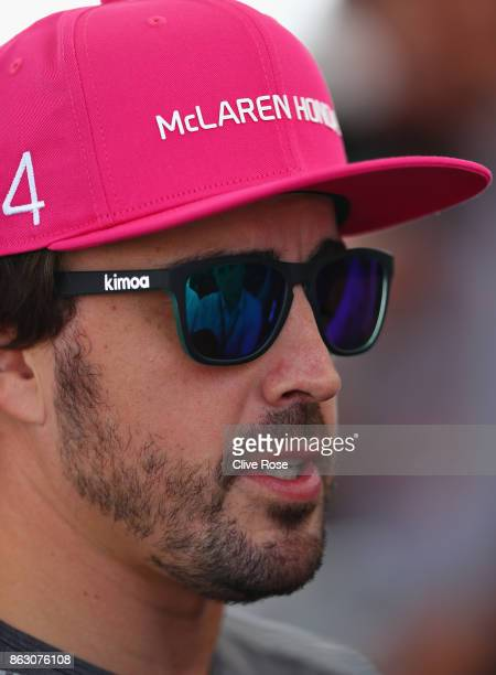 Fernando Alonso of Spain and McLaren Honda walks in the Paddock during previews ahead of the United States Formula One Grand Prix at Circuit of The...