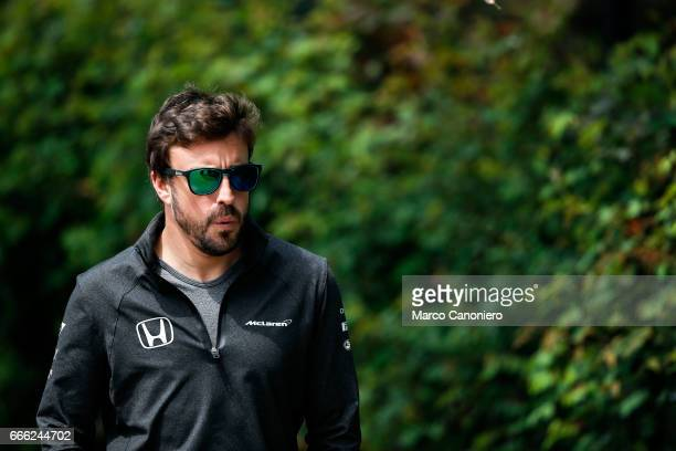 Fernando Alonso of Spain and McLaren Honda walks in the Paddock during final practice for the Formula One Grand Prix of China
