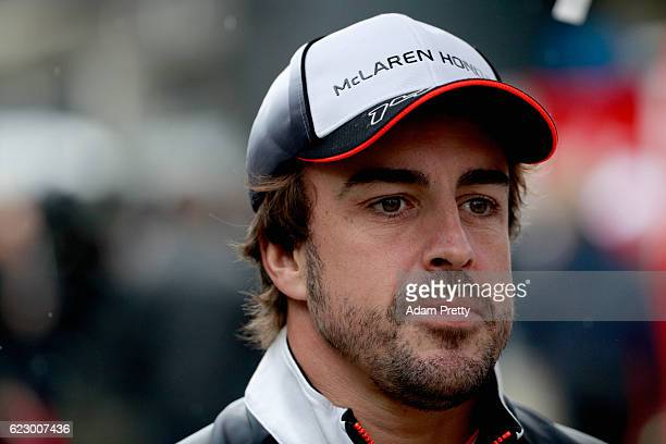 Fernando Alonso of Spain and McLaren Honda walks in the Paddock during the Formula One Grand Prix of Brazil at Autodromo Jose Carlos Pace on November...