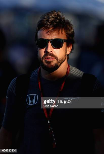 Fernando Alonso of Spain and McLaren Honda walks in the Paddock during previews to the Australian Formula One Grand Prix at Albert Park on March 23...