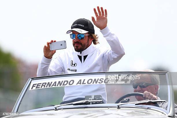 Fernando Alonso of Spain and McLaren Honda waves to the fans prior to the Canadian Formula One Grand Prix at Circuit Gilles Villeneuve on June 7 2015...