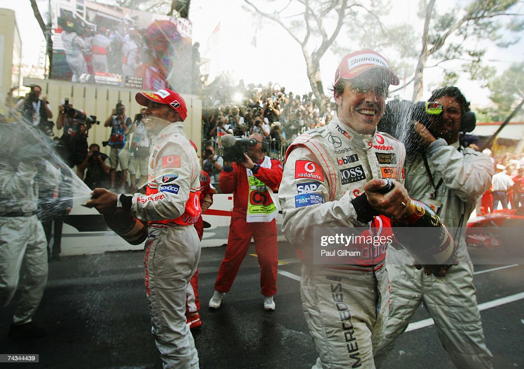 Fernando Alonso (R) of Spain and McLaren Mercedes celebrates with team mate Lewis Hamilton (L) of Great Britain after winning the Monaco Formula One Grand Prix at the Monte Carlo Circuit on May 27, 2007 in Monte Carlo, Monaco.