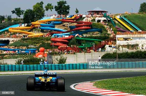Fernando Alonso of Spain and Renault in action during the practice session for the Hungarian F1 Grand Prix at the Hungaroring on July 29 2005 in...