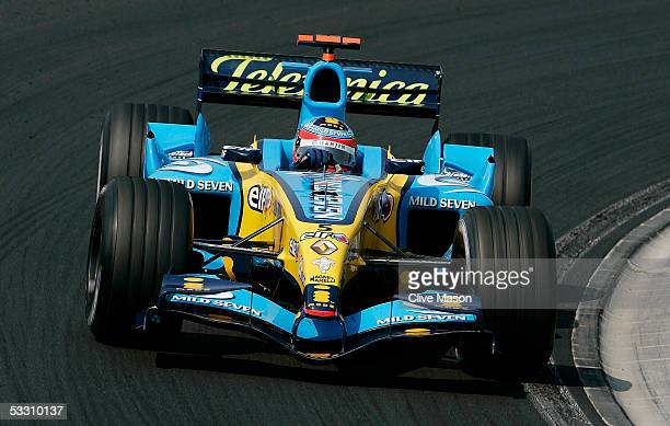 Fernando Alonso of Spain and Renault in actipon during the Hungarian F1 Grand Prix at the Hungaroring on July 31 2005 in Budapest Hungary
