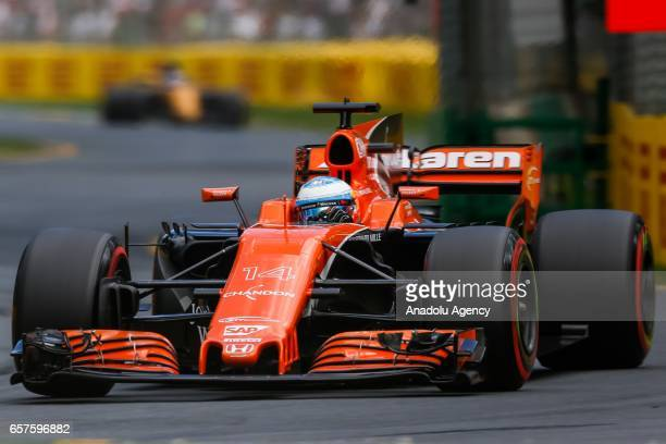 Fernando Alonso of Spain driving for McLaren Honda attends free practice during the 2017 Rolex Australian Formula 1 Grand Prix at Albert Park circuit...