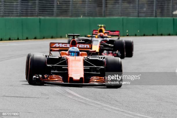 Fernando Alonso of Spain driving for McLaren Honda on Friday Free Practice during the 2017 Rolex Australian Formula 1 Grand Prix Albert Park circuit...
