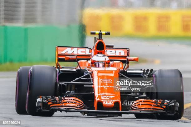 Fernando Alonso of Spain driving for McLaren Honda on Saturday Qualifying during the 2017 Rolex Australian Formula 1 Grand Prix at Albert Park...