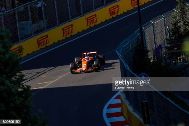 Fernando Alonso of Spain driving the McLaren Honda F1 Team on track during final practice for the Azerbaijan Formula One Grand Prix at Baku City...