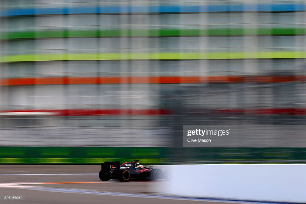<a gi-track='captionPersonalityLinkClicked' href=/galleries/search?phrase=Fernando+Alonso+-+Race+Car+Driver&family=editorial&specificpeople=12323351 ng-click='$event.stopPropagation()'>Fernando Alonso</a> of Spain driving the (14) McLaren Honda Formula 1 Team McLaren MP4-31 Honda RA616H Hybrid turbo on track during final practice ahead of the Formula One Grand Prix of Russia at Sochi Autodrom on April 30, 2016 in Sochi, Russia.