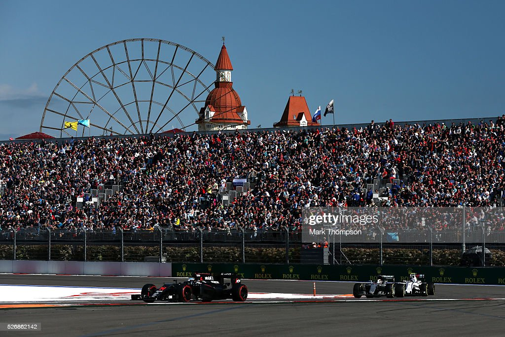 <a gi-track='captionPersonalityLinkClicked' href=/galleries/search?phrase=Fernando+Alonso+-+Racerf%C3%B6rare&family=editorial&specificpeople=12323351 ng-click='$event.stopPropagation()'>Fernando Alonso</a> of Spain driving the (14) McLaren Honda Formula 1 Team McLaren MP4-31 Honda RA616H Hybrid turbo on track during the Formula One Grand Prix of Russia at Sochi Autodrom on May 1, 2016 in Sochi, Russia.