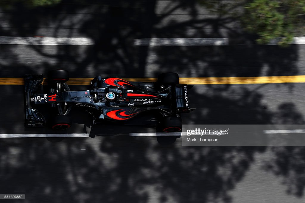 Fernando Alonso of Spain driving the (14) McLaren Honda Formula 1 Team McLaren MP4-31 Honda RA616H Hybrid turbo on track during practice for the Monaco Formula One Grand Prix at Circuit de Monaco on May 26, 2016 in Monte-Carlo, Monaco.