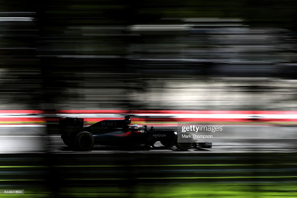 <a gi-track='captionPersonalityLinkClicked' href=/galleries/search?phrase=Fernando+Alonso+-+Race+Car+Driver&family=editorial&specificpeople=12323351 ng-click='$event.stopPropagation()'>Fernando Alonso</a> of Spain driving the (14) McLaren Honda Formula 1 Team McLaren MP4-31 Honda RA616H Hybrid turbo on track during practice for the Formula One Grand Prix of Austria at Red Bull Ring on July 1, 2016 in Spielberg, Austria.