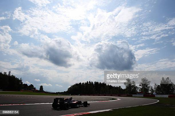 Fernando Alonso of Spain driving the McLaren Honda Formula 1 Team McLaren MP431 Honda RA616H Hybrid turbo on track during the Formula One Grand Prix...