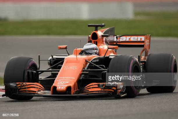 Fernando Alonso of Spain driving the McLaren Honda Formula 1 Team McLaren MCL32 in action during the Formula One winter testing at Circuit de...