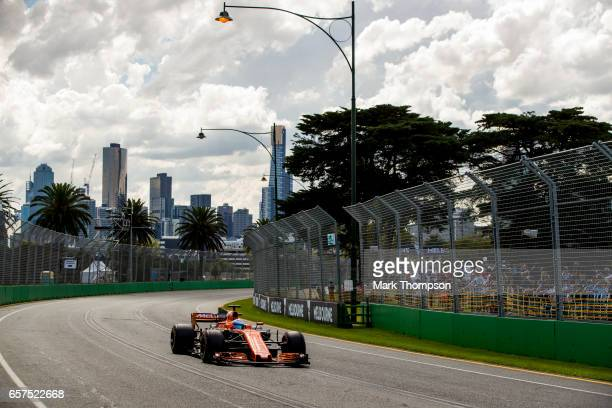 Fernando Alonso of Spain driving the McLaren Honda Formula 1 Team McLaren MCL32 on track during final practice for the Australian Formula One Grand...