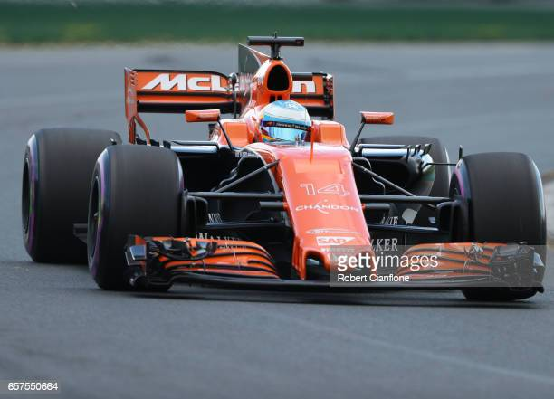 Fernando Alonso of Spain driving the McLaren Honda Formula 1 Team McLaren MCL32 on track during qualifying for the Australian Formula One Grand Prix...